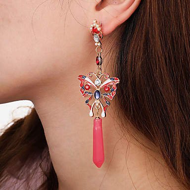 Damskie Czerwony Żywica Kolczyki drop Klasyczny Długie Motyl damska Artystyczny Moda Elegancja Kolczyki Biżuteria Czerwony Na Codzienny Ulica 1 para