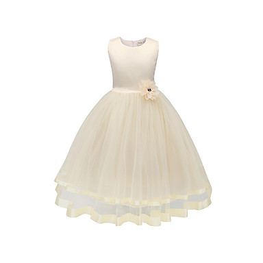 cheap Baby & Kids-Kids Girls' Basic Daily Solid Colored Sleeveless Dress White / Cotton