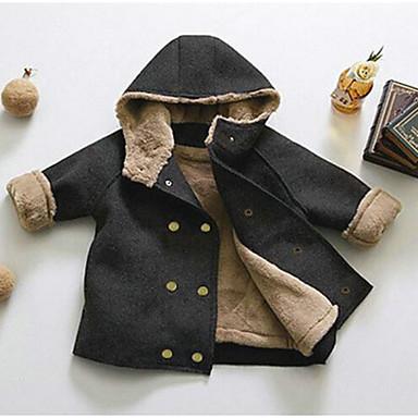 povoljno Odjeća za dječake-Djeca Dječaci Aktivan Dnevno Jednobojni Dugih rukava Normalne dužine Jakna i kaput Crn