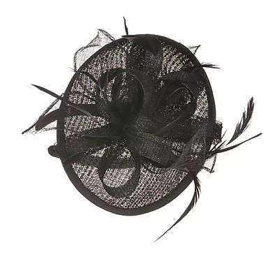 مزيج الكتان / البوليستر / حرير / الريش أغطية الرأس / غطاء للرأس مع ريش / عقدة شريطة 1 قطعة زفاف / حفل / مساء خوذة