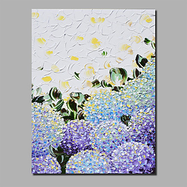 cheap Wall Art-Oil Painting Hand Painted - Abstract Floral / Botanical Comtemporary Modern Stretched Canvas