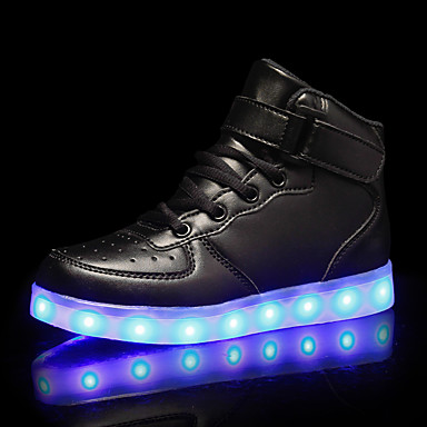 cheap New Arrivals-Boys' LED Shoes PU Sneakers Little Kids(4-7ys) / Big Kids(7years +) Black / White / Red Fall