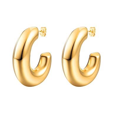 povoljno Modne naušnice-Žene Naušnica Naušnice od škampa Ime Alphabet Shape dame Moda Tikovina Naušnice Jewelry Zlato / Crn / Pink Za Dar Dnevno 1 par