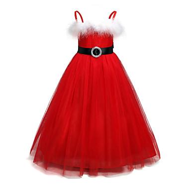 povoljno Girls' Party Wear-Djeca Djevojčice Osnovni Božić Dnevno Jednobojni Božić Dugih rukava Haljina Red / Pamuk