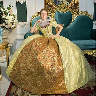 Princeza kraljica Elizabeth Viktoriánus Rococo Barroco Renesansa 18. stoljeće Četvrtasti izrez Haljine Izgledi Kostim za party Povorka maski Žene Kostim Zlatan Vintage Cosplay Party Prom 3/4 rukava