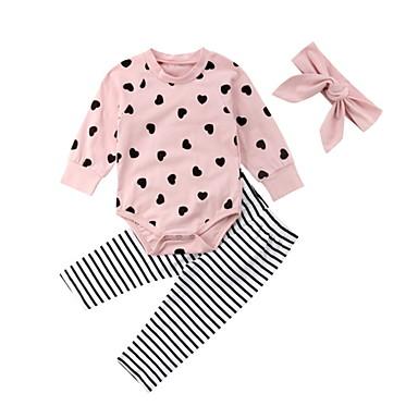 povoljno Odjeća za bebe-Dijete Djevojčice Osnovni Dnevno Geometrijski oblici Dugih rukava Regularna Normalne dužine Komplet odjeće Blushing Pink / Dijete koje je tek prohodalo