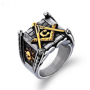 Muškarci Prsten Pečatni prsten Masonski prstenovi 1pc Zlato Srebro Titanium Steel Kvadrat Vintage Vojni Vojska Party Dnevno Jewelry Vintage Style mason Totem Series Cool