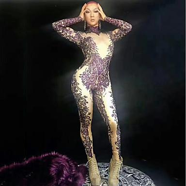 Egzotična plesna odjeća Kombinezon s drgim kamenjem / Klubska nošnja Žene Seksi blagdanski kostimi Spandex Kristali / Rhinestones Dugih rukava Hula-hopke / Onesie