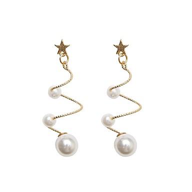 Žene Viseće naušnice Retro dame Korejski Biseri Pozlaćeni Naušnice Jewelry Zlatan Za Dnevno 1 par