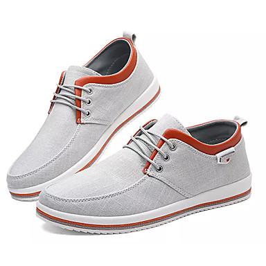 Muškarci Udobne cipele Platno / Lan Jesen Ležerne prilike Sneakers Non-klizanje Crn / Sive boje / Plava