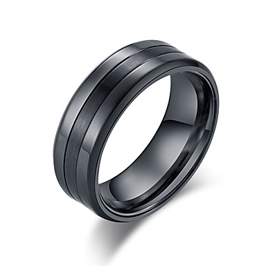 cheap Rings-Men's Band Ring Ring Groove Rings 1pc Black Silver Tungsten Steel Steel Stainless Stylish Basic Trendy Birthday Gift Jewelry Classic Cool