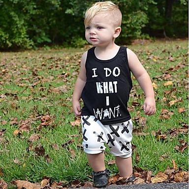 povoljno Odjeća za dječake-Dijete koje je tek prohodalo Dječaci Osnovni Dnevno Geometrijski oblici Print Bez rukávů Regularna Normalne dužine Pamuk Komplet odjeće Crn
