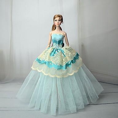 Haljina za lutke Haljine Za Barbie Čipka Transparent Green Til Čipka Mješavina pamuka Haljina Za Djevojka je Doll igračkama