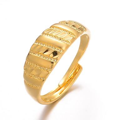 billige Motering-Dame Ring Justerbar ring 1pc Gull Gullbelagt damer Luksus Overdrivelse Bryllup Gave Smykker Klassisk Søtt