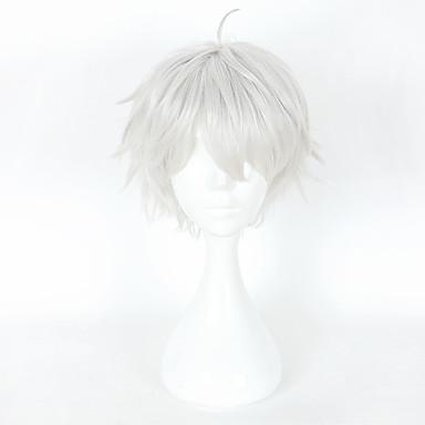Συνθετικές Περούκες Φυσικό ευθεία Ασύμμετρο κούρεμα Περούκα Κοντό Ασημί Συνθετικά μαλλιά 6 inch Ανδρικά Πάρτι Ασημί