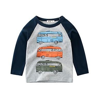 povoljno Odjeća za dječake-Djeca Dječaci Osnovni Dnevno Praznik Crno-bijela Print Print Dugih rukava Regularna Pamuk Bluza Sive boje