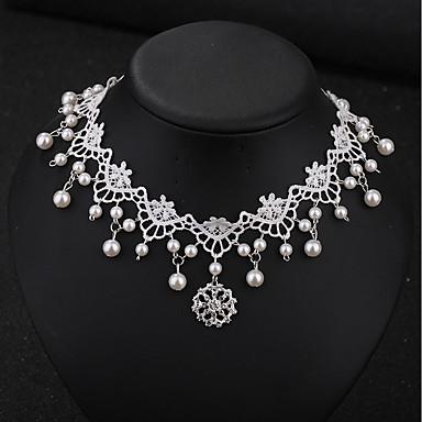 Žene Choker oglice Gyöngyök Slatka Style Elegantno Imitacija bisera Čipka Umjetno drago kamenje Obala 32 cm Ogrlice Jewelry 1pc Za Vjenčanje Spoj