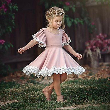 cheap Girls' Dresses-Toddler Girls' Sweet Party Dusty Rose Flower Lace Short Sleeve Dress Blushing Pink