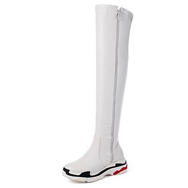 voordelige Dameslaarzen-Dames PU Herfst winter Informeel / minimalisme Laarzen Sleehak Ronde Teen Over de knie laarzen Wit / Zwart
