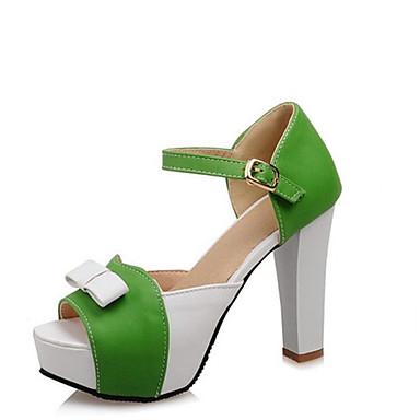 Žene PU Ljeto Sandale Kockasta potpetica Peep Toe Mašnica / Kopča Fuksija / Zelen / Plava / Color block