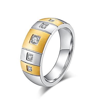 billige Motering-Dame Band Ring Ring Kubisk Zirkonium 1pc Gull Svart Rustfritt stål damer Stilfull Grunnleggende Bursdag Valentine Smykker Klassisk Smuk