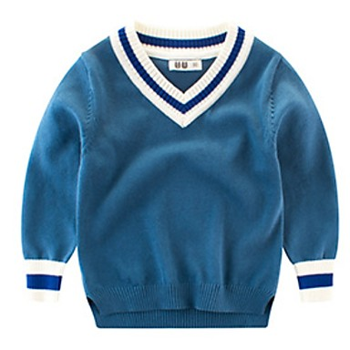 preiswerte Pullover & Strickjacken für Jungen-Baby Jungen Grundlegend Druck Langarm Pullover & Cardigan Blau