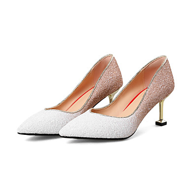 37bcf434201 Women s Synthetics Spring   Summer Sweet   Minimalism Wedding Shoes Kitten  Heel Pointed Toe Sparkling Glitter White   Red   Party   Evening 7003670  2019 – ...