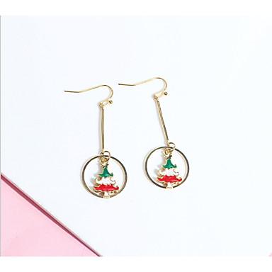 levne Dámské šperky-Dámské Náušnice Dlouhé Elk Vánoční stromek dámy Jednoduchý Evropský Módní Náušnice Šperky Černá a zlatá / Červená / Zelená Pro Vánoce Dar 2pcs