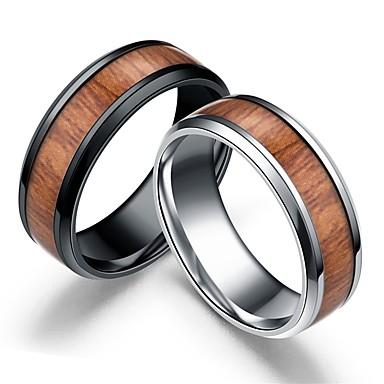 levne Pánské šperky-Pánské Band Ring 1ks Černá Stříbrná Dřevěný Nerez Dřevo Circle Shape Jednoduchý Svatební Denní Šperky Retro / Přírodní dřevo