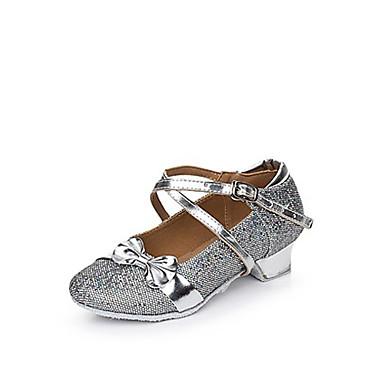 ราคาถูก รองเท้าเต้นราคาถูก-สำหรับผู้หญิง รองเท้าเต้นรำ ผ้ายืดหยุ่น รองเท้าเต้นรำของเ็ด็ก เลื่อม / หัวเข็มขัด / จับย่น ส้นเรียบ ส้นต่ำ สีทอง / สีเงิน / สีชมพู / ในที่ร่ม / EU39