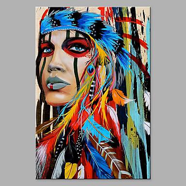 povoljno Bez unutrašnje Frame-Hang oslikana uljanim bojama Ručno oslikana - Sažetak Ljudi Klasik Moderna Bez unutrašnje Frame / Valjani platno