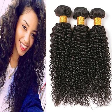 3 paketa Peruanska kosa Kinky Curly Ljudska kosa Netretirana  ljudske kose Headpiece Ljudske kose plete Styling kose 8-28 inch Prirodna boja Isprepliće ljudske kose Smooth Rasprodaja Cool Proširenja
