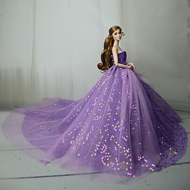 preiswerte Zubehör für Puppen-Puppenkleid Party / Abends Für Barbie Purpur Blau Rosa Tüll Spitze Pailetten Kleid Für Mädchen Puppe Spielzeug