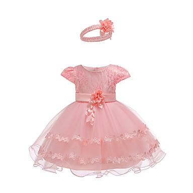 hesapli Bebekl Kıyafetleri-Bebek Genç Kız Actif Temel Parti Doğum Dünü Solid Dantel Kısa Kollu Diz üstü Elbise Doğal Pembe