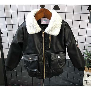 povoljno Odjeća za dječake-Djeca Dječaci Osnovni Dnevno Jednobojni Dugih rukava Normalne dužine PU Jakna i kaput Braon