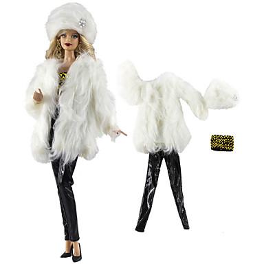 Dodaci za lutke Odjeća za lutke Hlače s lutkama Casual Lolita Dva dijela Za Barbie Moda Crno-bijeli Nonwoven Fabric Tkanina Pamučne tkanine Kaput / Top / Hlače Za Djevojka je Doll igračkama