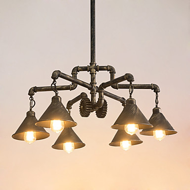 6-Light industrijski Lusteri Downlight Antique Brass Slikano završi Metal Kreativan, Cijev 110-120V / 220-240V