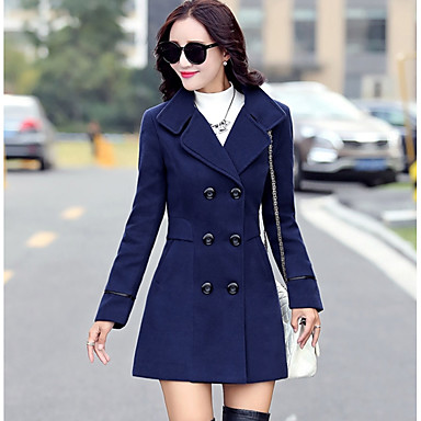 a9bac270c771 Women s Going out   Work Vintage   Street chic   Sophisticated Winter    Fall   Winter Long Trench Coat