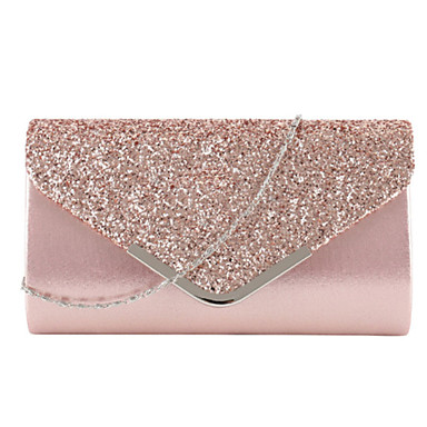 cheap Bags-Women's Glitter PU Evening Bag Wedding Bags Solid Color Black / Blushing Pink / Gold / Fall & Winter
