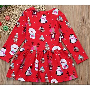 cheap Clearance-Kids Girls' Active Christmas Cartoon Christmas Sleeveless Long Sleeve Above Knee Dress Red