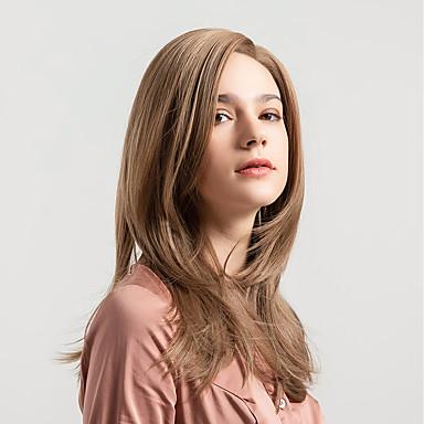 Sintetičke perike Prirodno ravno Stil Stražnji dio Capless Perika Svjetlosmeđ Sintentička kosa 18 inch Žene Novi Dolazak Prirodna linija za kosu Svjetlosmeđ Perika Srednja dužina MAYSU