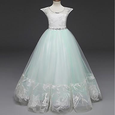 preiswerte Prinzessin-Kinder Mädchen Grundlegend Solide Blumen Kurzarm Kleid Weiß