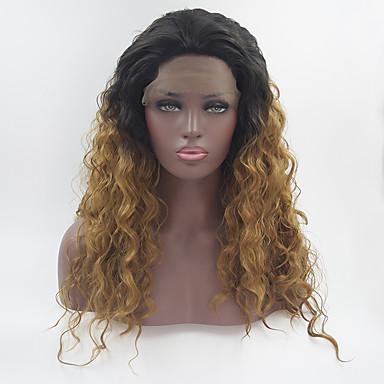 Prednja perika od sintetičkog čipke Valovita kosa Loose Curl Stil Slobodni dio Lace Front Perika Crno-plava Crno Zlato Sintentička kosa 18-26 inch Žene Prilagodljiv Otporan na toplinu Elastičan