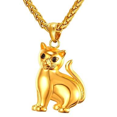 levne Pánské šperky-Pánské Náhrdelníky s přívěšky Cameo Kočka Módní Cute Style Nerez Zlatá Stříbrná 55 cm Náhrdelníky Šperky 1ks Pro Dar Denní