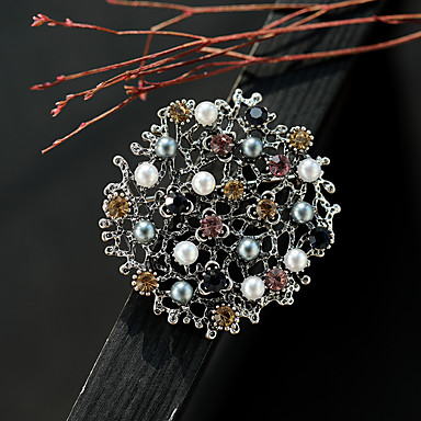preiswerte Brosche-Damen Kubikzirkonia Broschen Ein Blütenblatt damas Retro Farbe Perlen Brosche Schmuck Silberschwarz Für Strasse