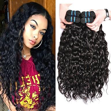povoljno Ekstenzije od ljudske kose-4 paketića Brazilska kosa Water Wave Virgin kosa Produžetak Ekstenzije od ljudske kose 8-28 inch Prirodna boja Isprepliće ljudske kose Za crnkinje 100% Djevica Proširenja ljudske kose / 10A