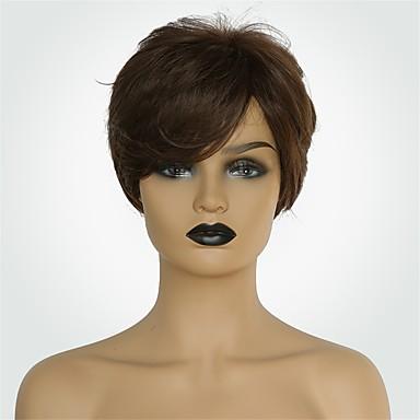 Ljudski kose bez kaplama Ljudska kosa Prirodno ravno Pixie frizura / Kratke frizure 2019 Stil Modni dizajn / New Design / Udobnost Smeđa Kratko Capless Perika Žene / Prirodna linija za kosu