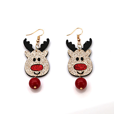 povoljno Modne naušnice-Žene Viseće naušnice Naušnica Vintage Style Los Jelen Lopta dame Vintage Crtići Moda Naušnice Jewelry Crvena Za Božić Dar 1 par