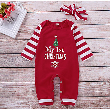 cheap Baby Girls' One-Piece-Baby Girls' Basic Solid Colored / Christmas Long Sleeve Cotton Romper Red