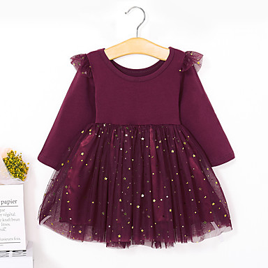 cheap Top Sellers-Toddler Girls' Basic Sweet Solid Colored Long Sleeve Dress Wine